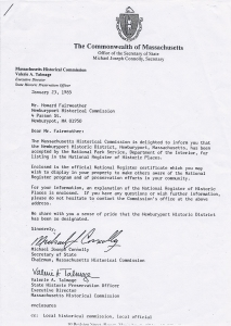 MHC Letter approving NHD and requesting signage