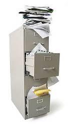 Overstuffed file cabinet